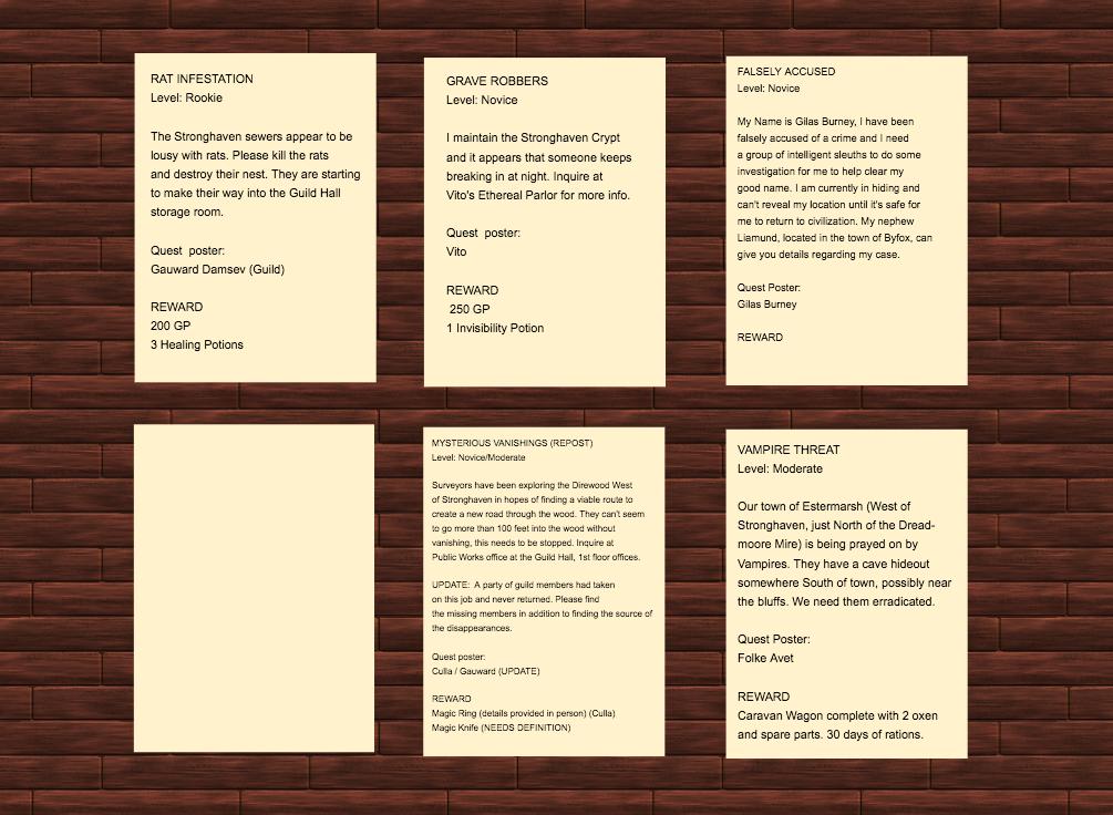 Stronghaven Adventurer's Guild Job Board